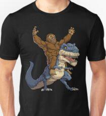 Bigfoot Sasquatch Riding T-Rex Tyrannosaurus Dinosaur T-shirt Funny Monster Gift T-Shirt