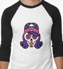 Spooky Halloween Girl Sugar Skull Art Graphic Design Men's Baseball ¾ T-Shirt