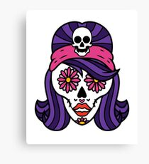 Spooky Halloween Girl Sugar Skull Art Graphic Design Canvas Print