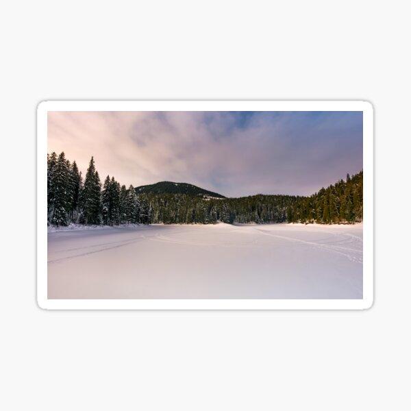 frozen lake in snowy forest Sticker