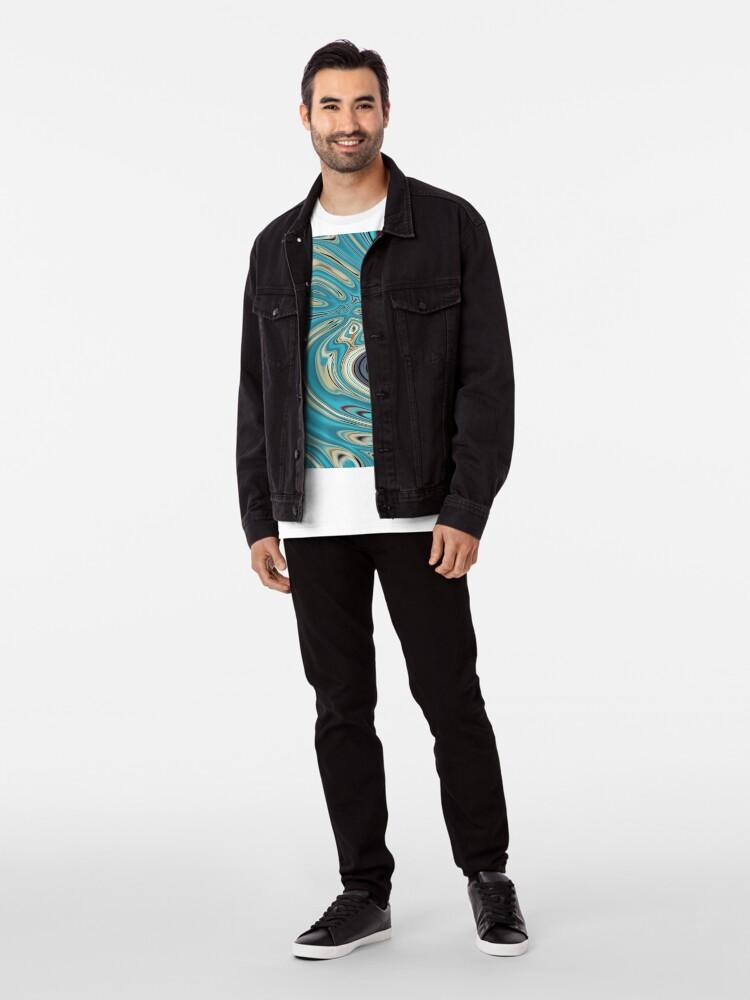 Alternative Ansicht von abstrakter Strandmarmormuster aquamariner Türkis wirbelt Premium T-Shirt