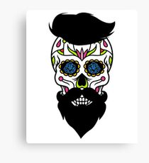 Spooky Halloween Guy Sugar Skull Art Graphic Design Canvas Print