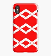 Abstract geometric pattern - red and white. iPhone Case/Skin