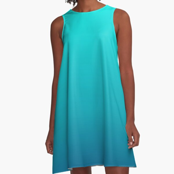 summer beach chic abstract teal blue turquoise ombre  A-Line Dress