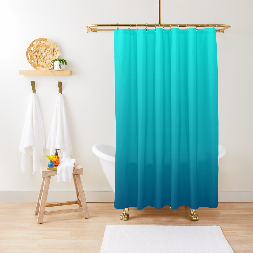 summer beach chic abstract teal blue turquoise ombre  Shower Curtain