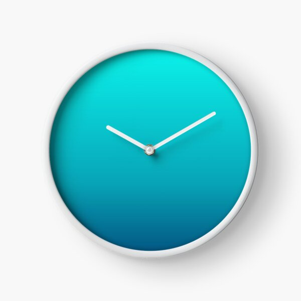summer beach chic abstract teal blue turquoise ombre  Clock