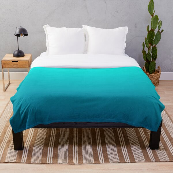 summer beach chic abstract teal blue turquoise ombre  Throw Blanket