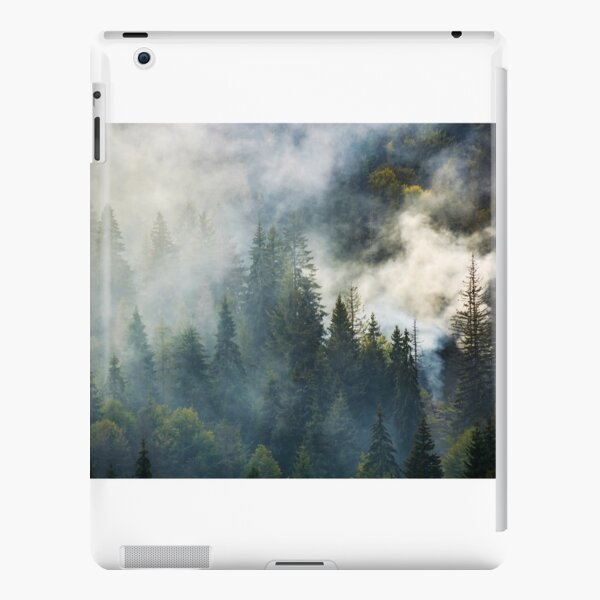 smoke rise above spruce forest iPad Snap Case