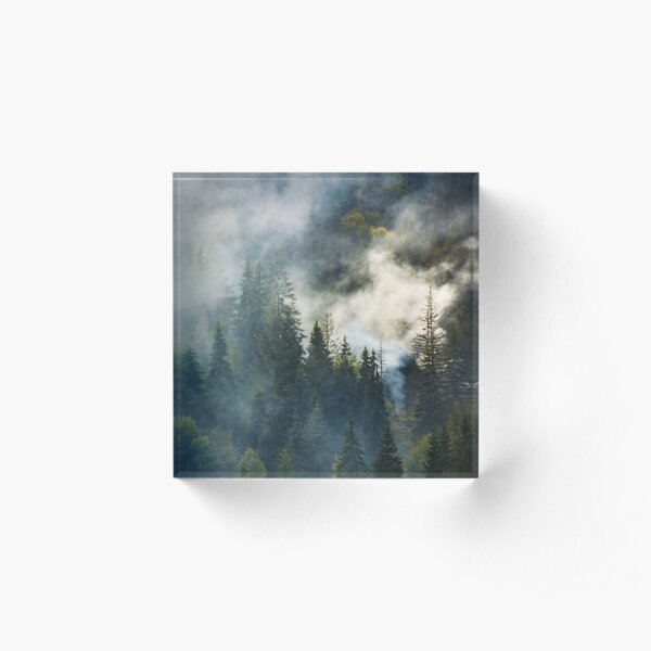 smoke rise above spruce forest Acrylic Block