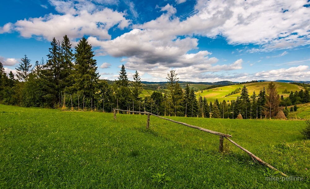rural fields on hills in mountains near forest by mike-pellinni