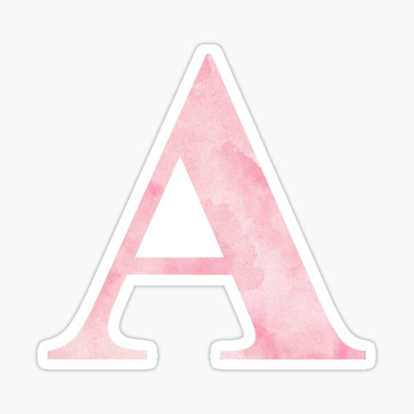 The Letter A- Light Pink Watercolor Design Sticker Sticker