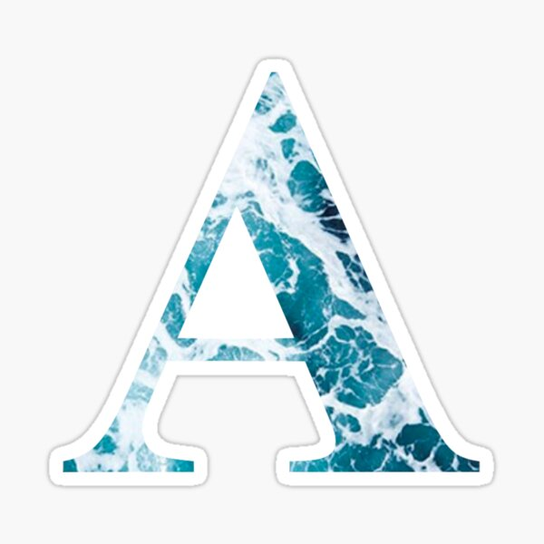 The Letter A- Ocean Waves Design Sticker Sticker