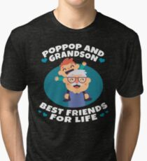 Poppop And Grandson Best Friends For Life Funny Family Gift Tri-blend T-Shirt