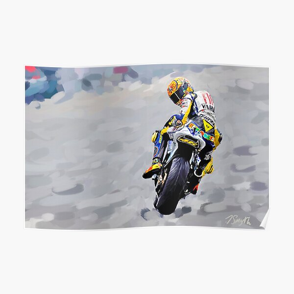 Valentino Rossi 1st Painting - Huile sur toile Poster