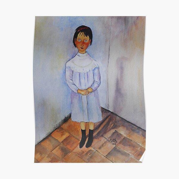 Fillette en bleu d'après une oeuvre de Modigliani Poster