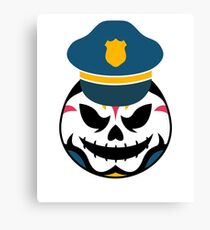 Spooky Halloween Policeman Cap Sugar Skull Art Graphics Design Canvas Print