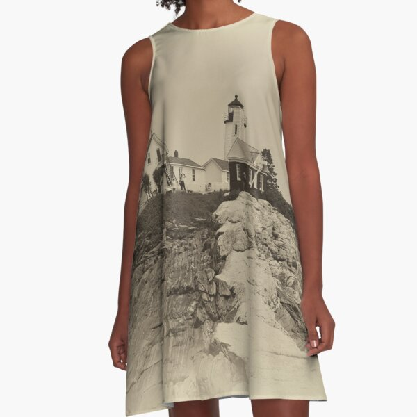 Pemaquid Point Light House In Sepia A-Line Dress
