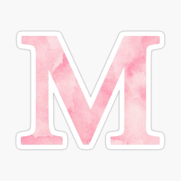The Letter M- Light Pink Watercolor Design Sticker Sticker