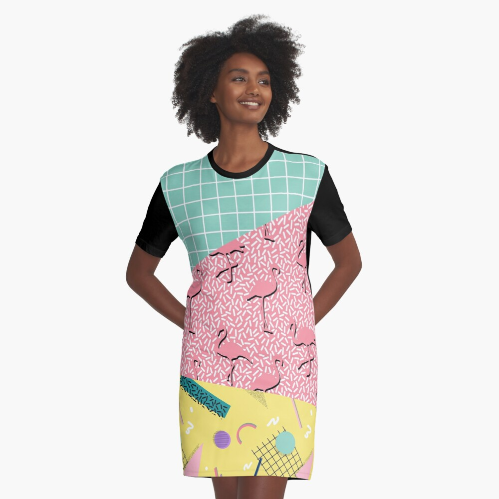 Flamingos and Geometry T-shirt Dress