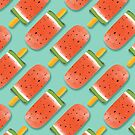 Watermelon Popsicles Pattern #redbubble #decor #buyart by designdn