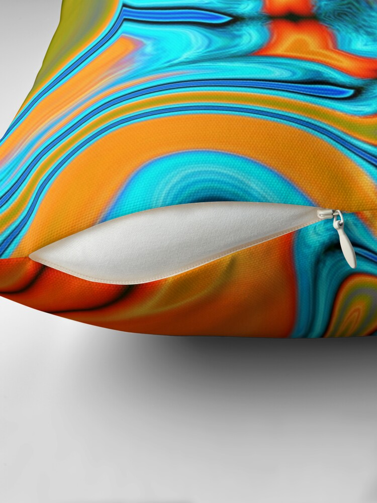 Alternate view of vivid modern Southwest hipster turquoise orange swirls Throw Pillow