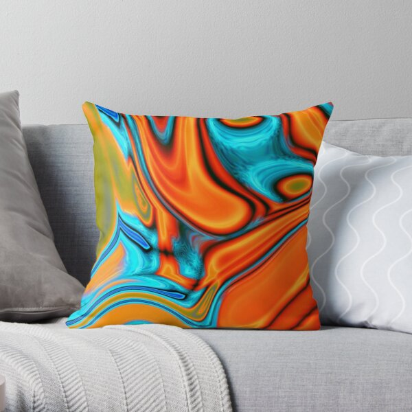 vivid modern Southwest hipster turquoise orange swirls Throw Pillow