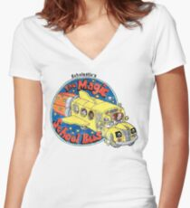 Washed-Out Magic School Bus Women's Fitted V-Neck T-Shirt