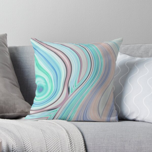 abstract marble lilac purple turquoise aqua blue swirls Throw Pillow