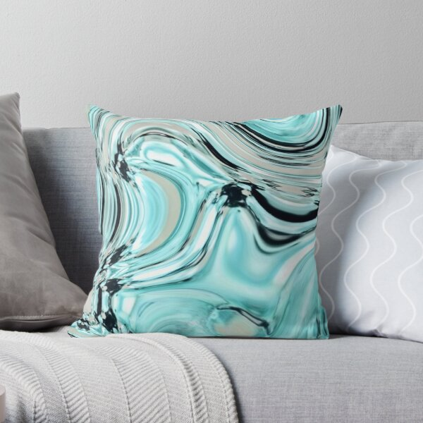 abstract marble pattern turquoise aqua blue swirls Throw Pillow