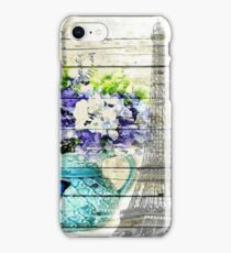 shabby chic blue butterfly flowers vintage paris eiffel tower iPhone Case/Skin