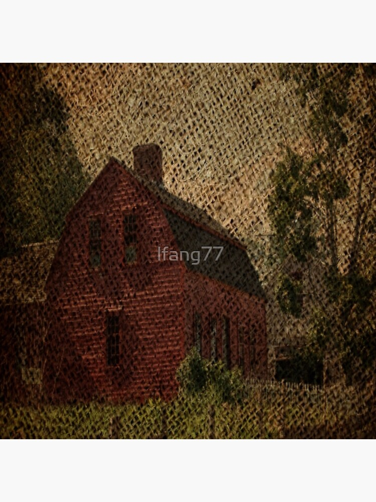 primitive western country rustic burlap farm red barn by lfang77