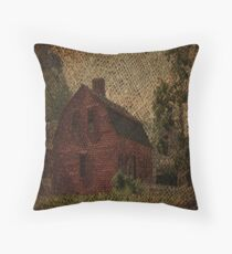 primitive western country rustic burlap farm red barn Throw Pillow