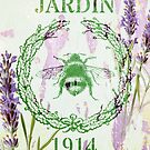 french country purple lavender vintage bee by lfang77