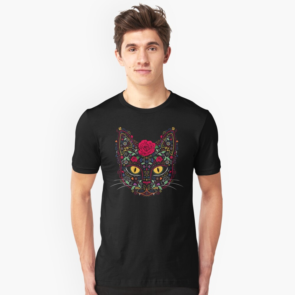 Day of the Dead Kitty Cat Sugar Skull Unisex T-Shirt Front