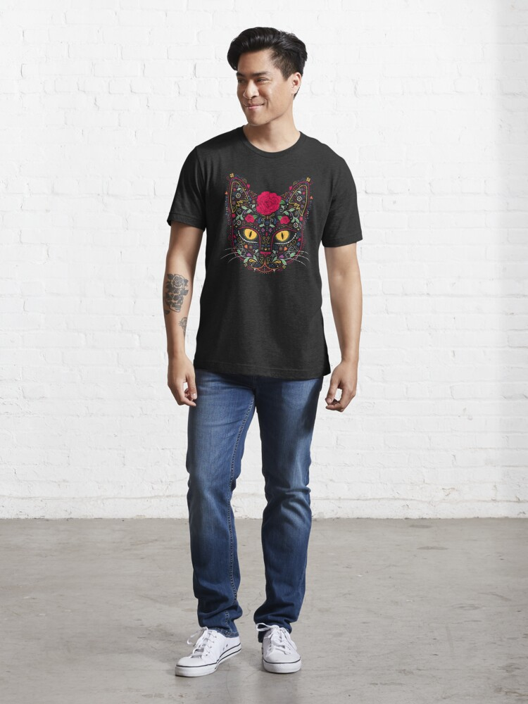Alternate view of Day of the Dead Kitty Cat Sugar Skull Essential T-Shirt