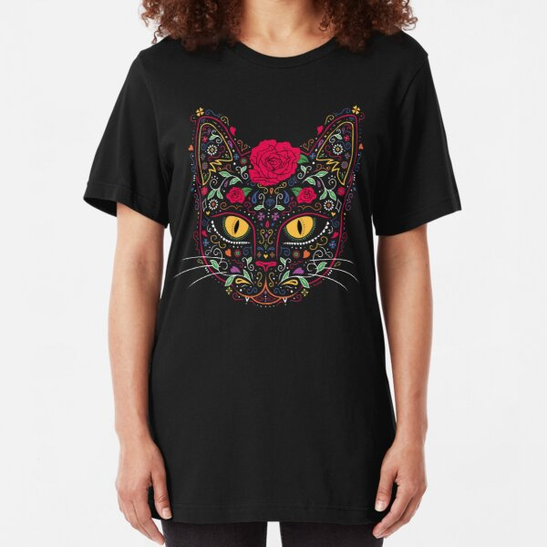 Day of the Dead Kitty Cat Sugar Skull Slim Fit T-Shirt