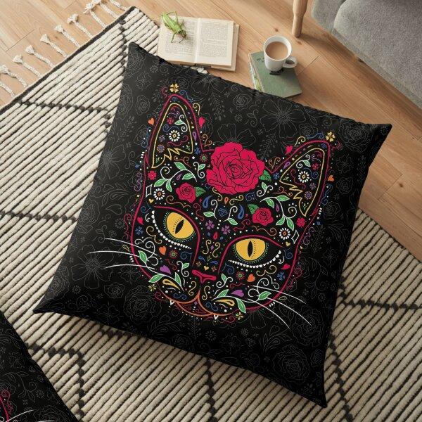 Day of the Dead Kitty Cat Sugar Skull Floor Pillow