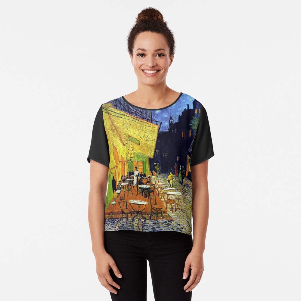 Cafe Terrace at Night Women's Chiffon Top Front