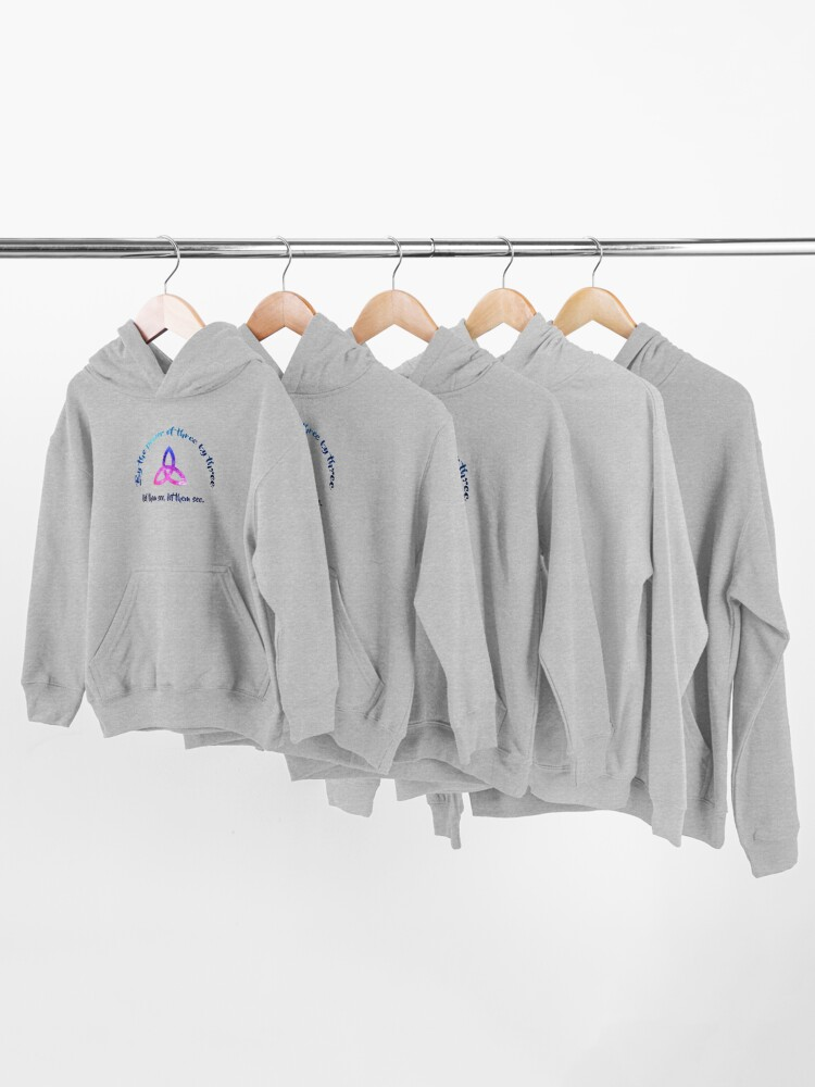 Alternate view of By the power of three by three Kids Pullover Hoodie