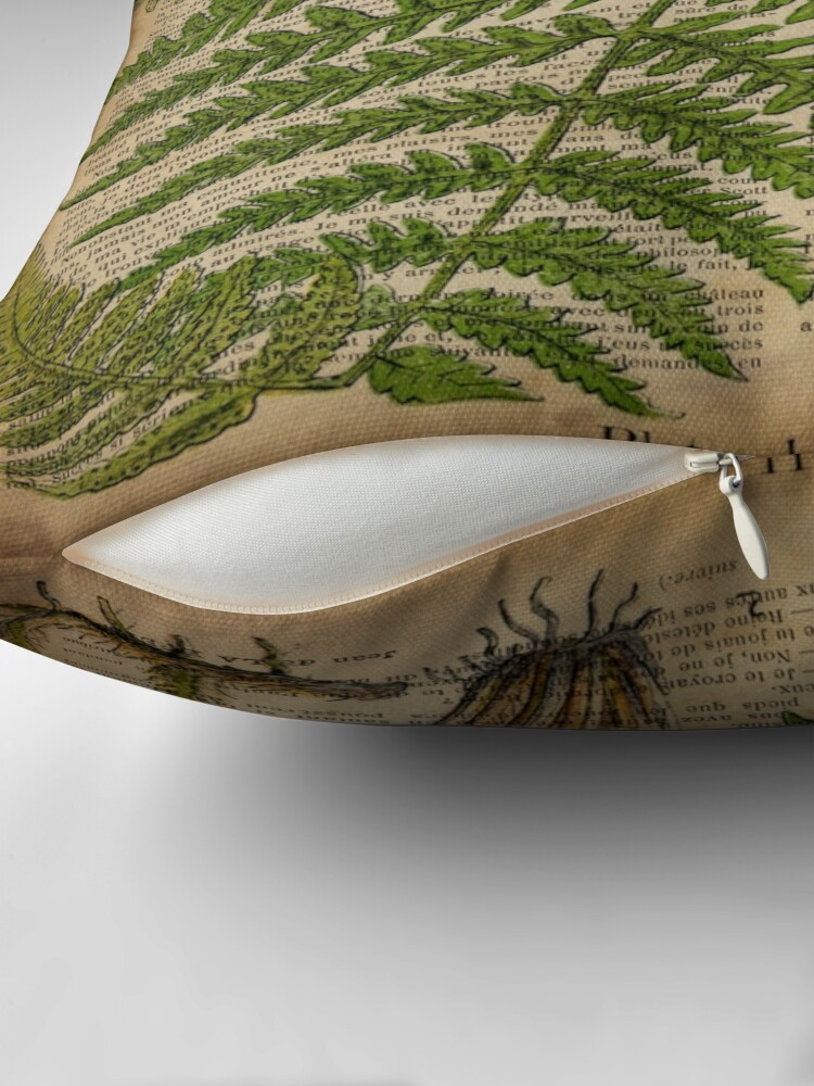 Alternate view of vintage foliage hipster botanical print fern leaves Throw Pillow