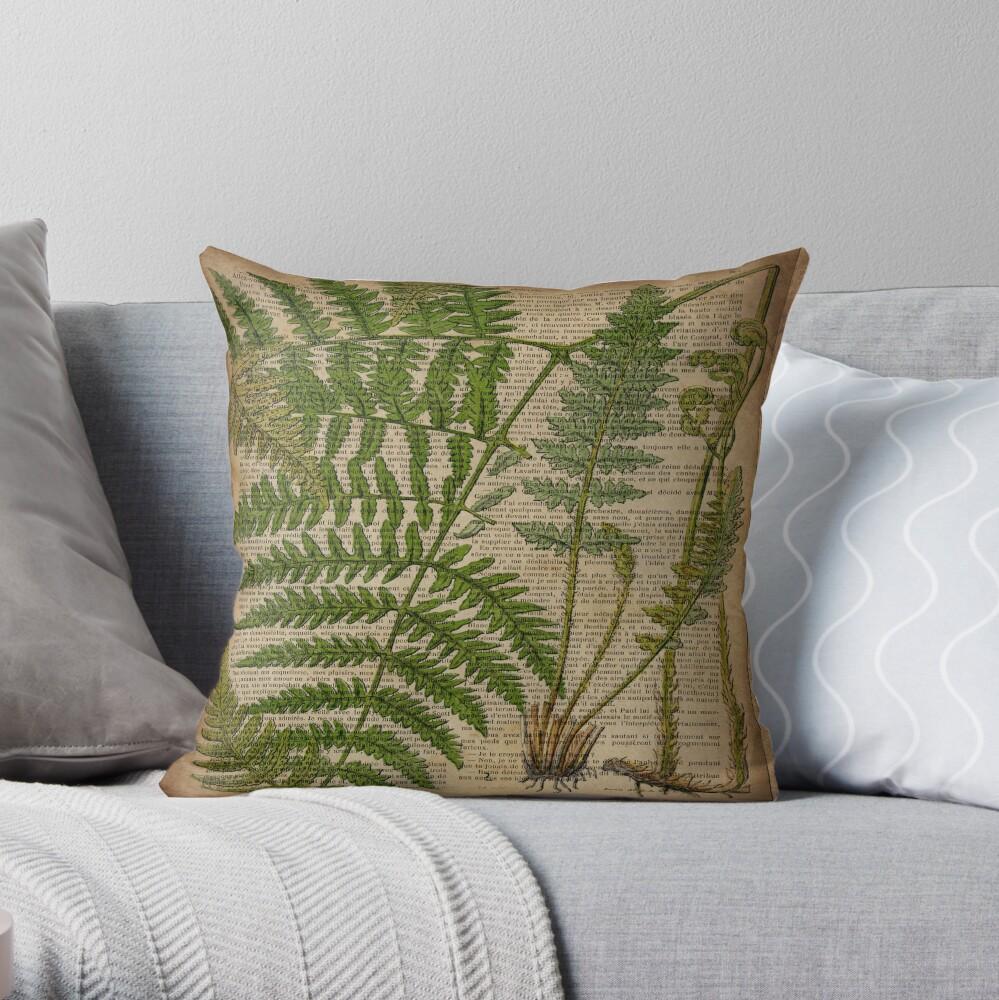 vintage foliage hipster botanical print fern leaves Throw Pillow