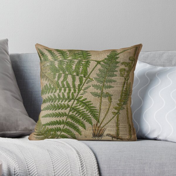 vintage foliage hipster botanical print fern leaves Throw Pillow