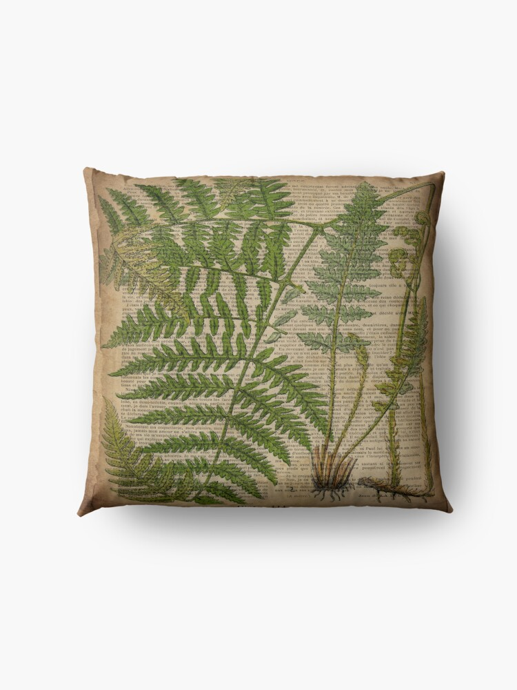 Alternate view of vintage foliage hipster botanical print fern leaves Floor Pillow