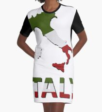 italy map with flag Graphic T-Shirt Dress
