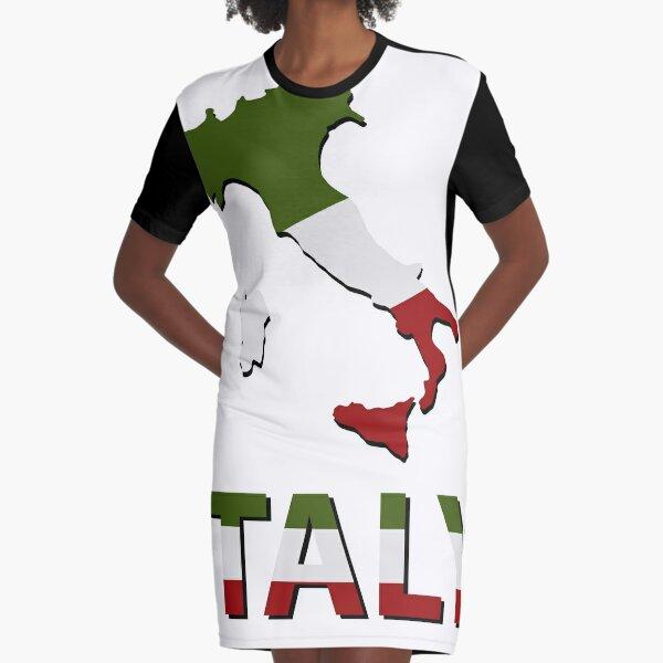 Italien Karte mit Flagge T-Shirt Kleid