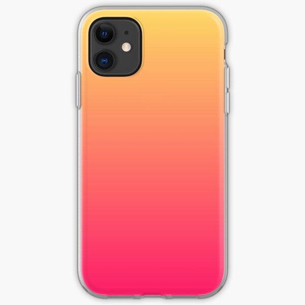 modern chic girly hot pink orange fuschia ombre iPhone Soft Case