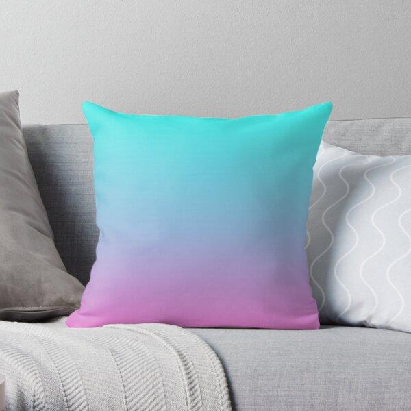 mermaid colours pastel fuchsia pink turquoise aqua blue Throw Pillow