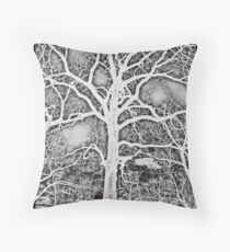 Negative Image Black and White Tree Branches Abstract Design Throw Pillow