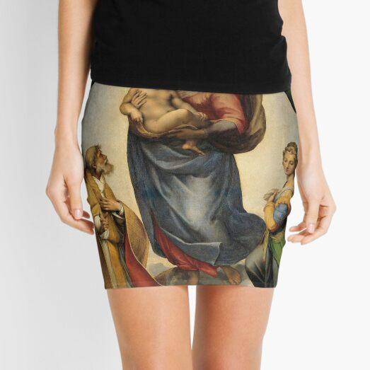 The Sistine Madonna Oil Painting by Raphael Mini Skirt
