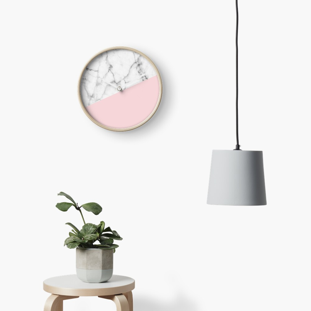 Real White Marble Half Powder Blush Pink Clock